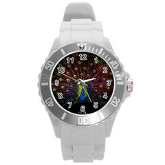 Beautiful Peacock Feather Round Plastic Sport Watch (L)