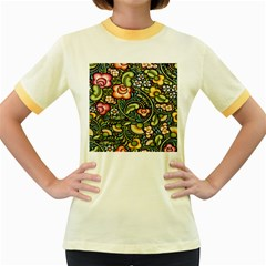 Bohemia Floral Pattern Women s Fitted Ringer T-Shirts