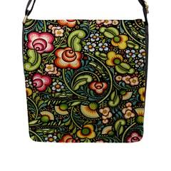 Bohemia Floral Pattern Flap Messenger Bag (L)
