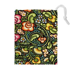 Bohemia Floral Pattern Drawstring Pouches (Extra Large)
