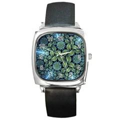 Blue Lotus Square Metal Watch