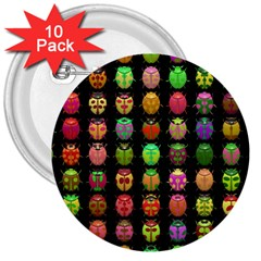 Beetles Insects Bugs 3  Buttons (10 pack)