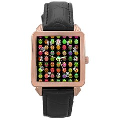 Beetles Insects Bugs Rose Gold Leather Watch