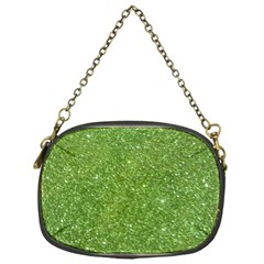Green Glitter Abstract Texture Chain Purses (one Side)
