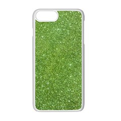 Green Glitter Abstract Texture Apple Iphone 7 Plus White Seamless Case