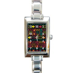 Bohemian Patterns Tribal Rectangle Italian Charm Watch