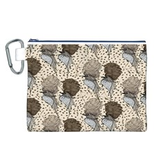 Bouffant Birds Canvas Cosmetic Bag (L)