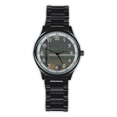 Building Pattern Stainless Steel Round Watch