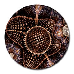Brown Fractal Balls And Circles Round Mousepads