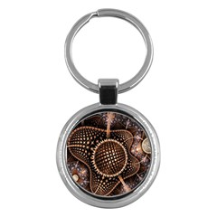 Brown Fractal Balls And Circles Key Chains (Round)