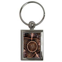 Brown Fractal Balls And Circles Key Chains (Rectangle)