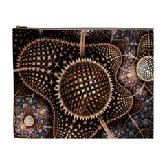Brown Fractal Balls And Circles Cosmetic Bag (XL)