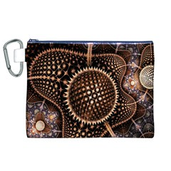 Brown Fractal Balls And Circles Canvas Cosmetic Bag (XL)
