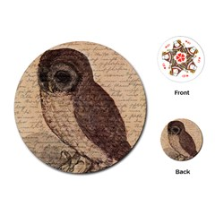 Vintage owl Playing Cards (Round)