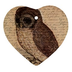 Vintage owl Heart Ornament (Two Sides)