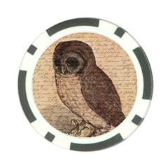 Vintage owl Poker Chip Card Guard