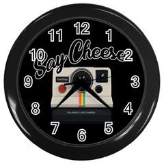 Say Cheese Wall Clocks (Black)