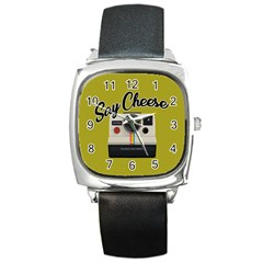 Say Cheese Square Metal Watch