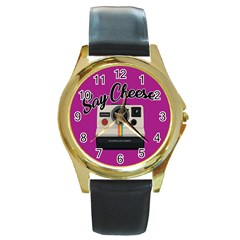 Say Cheese Round Gold Metal Watch