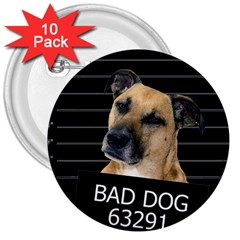 Bed dog 3  Buttons (10 pack)