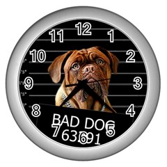 Bed dog Wall Clocks (Silver)