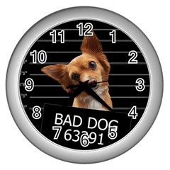 Bad dog Wall Clocks (Silver)