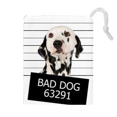 Bad dog Drawstring Pouches (Extra Large)
