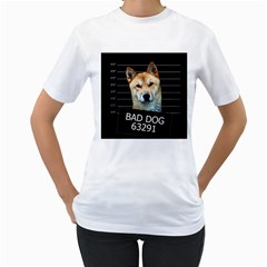 Bad dog Women s T-Shirt (White) (Two Sided)