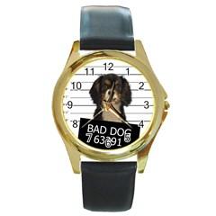 Bad dog Round Gold Metal Watch