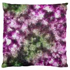 Purple green paint texture    Large Flano Cushion Case (Two Sides)