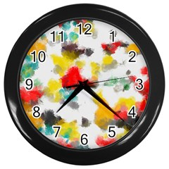 Colorful paint stokes           Wall Clock (Black)