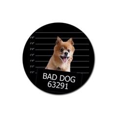 Bad dog Rubber Round Coaster (4 pack)