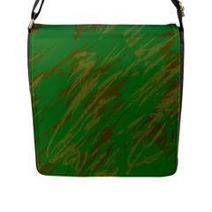 Brown green texture             Flap Closure Messenger Bag (L)