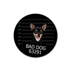 Bad dog Rubber Coaster (Round)