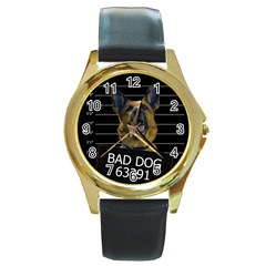 Bad dog Round Gold Metal Watch