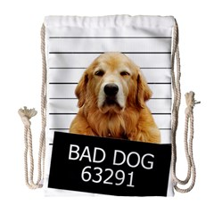 Bad dog Drawstring Bag (Large)
