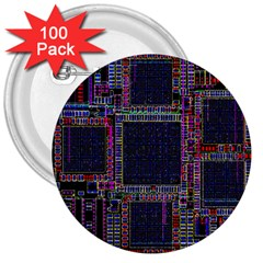 Cad Technology Circuit Board Layout Pattern 3  Buttons (100 pack)