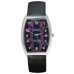 Cad Technology Circuit Board Layout Pattern Barrel Style Metal Watch