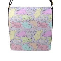 Cat Animal Pet Pattern Flap Messenger Bag (L)