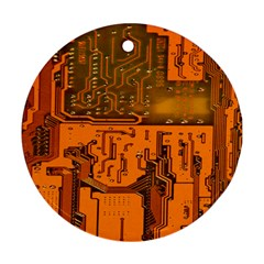 Circuit Board Pattern Round Ornament (Two Sides)