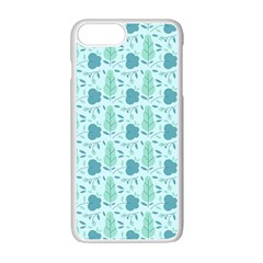 Flowers And Leaves Pattern Apple Iphone 7 Plus White Seamless Case