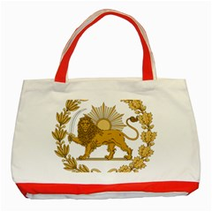 Lion & Sun Emblem Of Persia (iran) Classic Tote Bag (red)