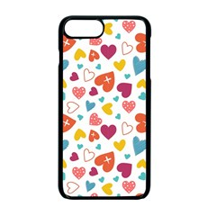 Colorful Bright Hearts Pattern Apple Iphone 7 Plus Seamless Case (black)