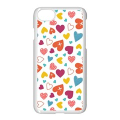 Colorful Bright Hearts Pattern Apple Iphone 7 Seamless Case (white)