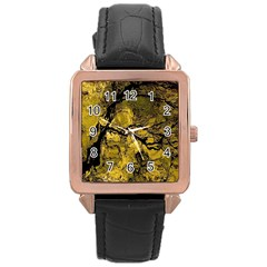 Colorful The Beautiful Of Traditional Art Indonesian Batik Pattern Rose Gold Leather Watch