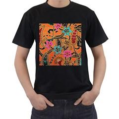 Colorful The Beautiful Of Art Indonesian Batik Pattern Men s T-Shirt (Black) (Two Sided)