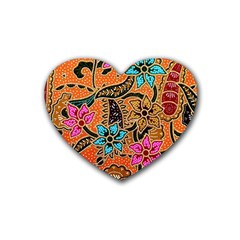 Colorful The Beautiful Of Art Indonesian Batik Pattern Rubber Coaster (Heart)