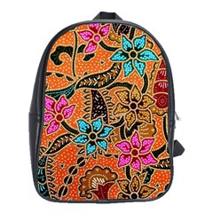Colorful The Beautiful Of Art Indonesian Batik Pattern School Bags(Large)
