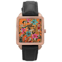 Colorful The Beautiful Of Art Indonesian Batik Pattern Rose Gold Leather Watch