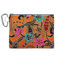 Colorful The Beautiful Of Art Indonesian Batik Pattern Canvas Cosmetic Bag (XL)
